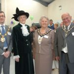 Photograph of The Mayor, The Lady High Sherriff and the Council leaders attending the opening celebrations.
