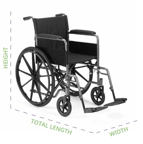 Image showing important wheelchair dimensions for selecting a WAV.
