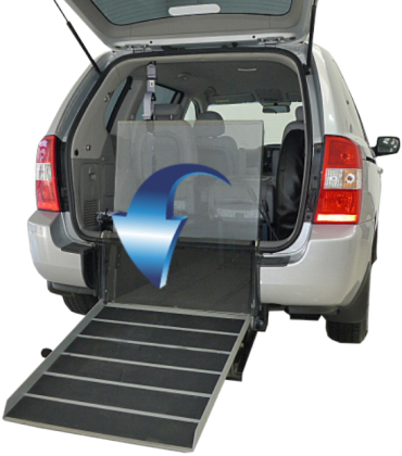 Photo showing ramp access to a wheelchair accessible vehicle.