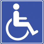 Blue badge symbol for vehicle used by disabled person.