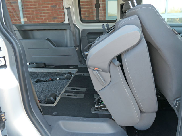Mobility Nationwide | Used Wheelchair Accessible Vehicles | VW Caddy Maxi rear seats tilted